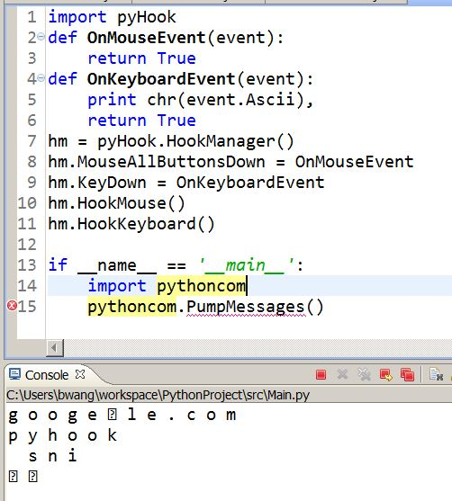 python – pyhook – a python library to monitor WINDOWS