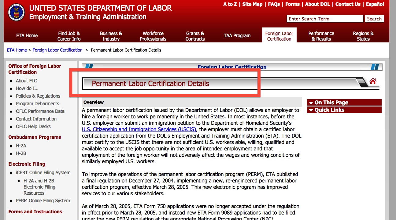 Visa Permanent Labor Certification Detail Datafireball