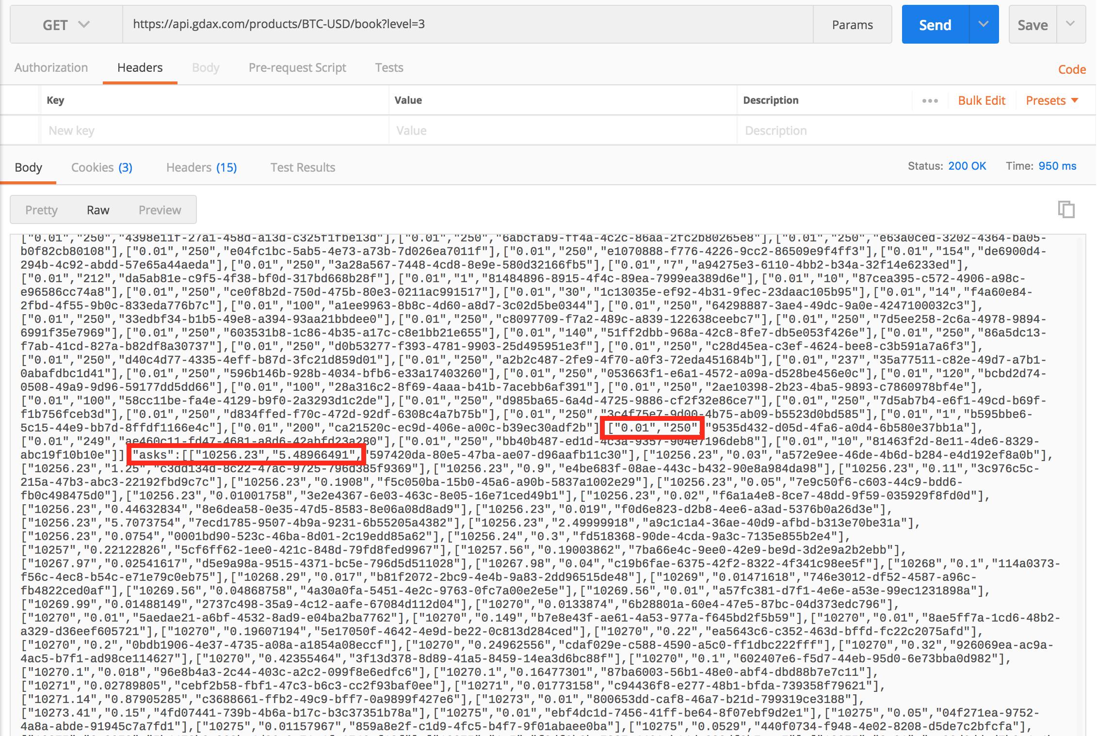 GDAX – orderbook data API level1,2,3 | datafireball