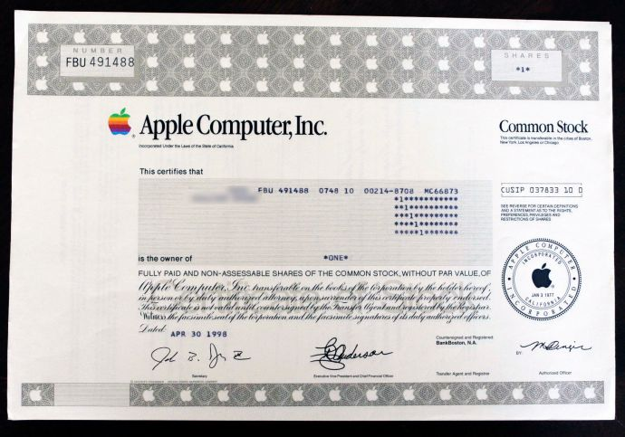 APPLE-COMPUTER-INC-RARE-ISSUED-STOCK-CERTIFICATE